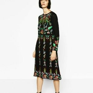 Zara Knit Limited Edition Embroidered Black Dress